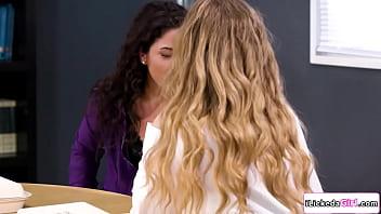 Busty lesbian teacher fingers co worker