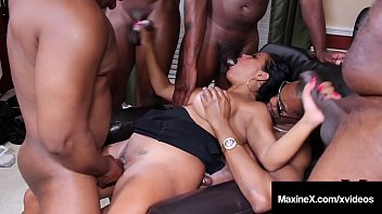 Big dick fred Oriental orgy asian maxine x butt fucks with 6 black cocks