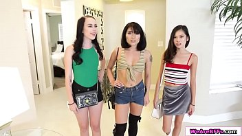 Bambi and her asian bffs share one cock
