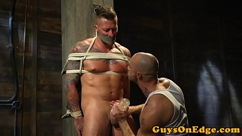Tie domi gay Inked sub tied up jerked and toyed for edging
