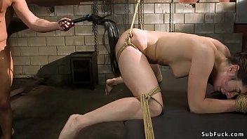 Brunette in brutal bondage anal banged