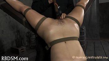 Gagged orgasm Babe receives lusty snatch prodding