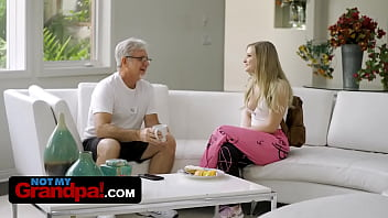Dirty Old Grandpa Takes Advantage Of His Sexy Step Granddaughter And Fills Her Mouth With Hot Jizz