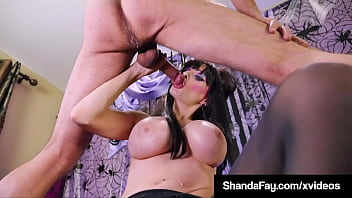 devilish costumed cougar shanda fay blows and bangs a hard stiff dick