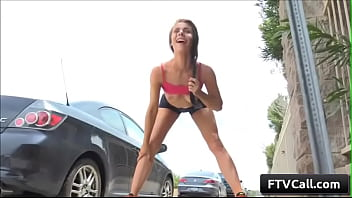 Young cutie brunette amateur Anyah goes for a run and gets naughty and rub her juicy pussy in public