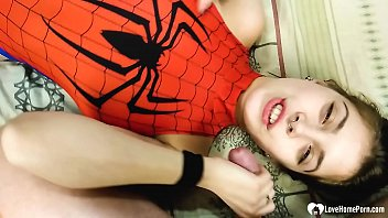 Kinky stepsister in a spiderman outfit gets creamed