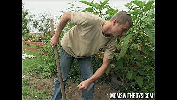 European mom makes her young gardener her sex boy toy 10 min