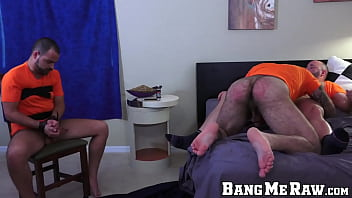 Small muscle gay Two muscular daddies hook up and have rough bareback sex