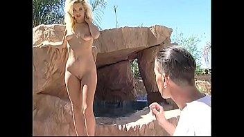 Glamorous blonde Teri Star has two dicks to satisfy near swimming pool