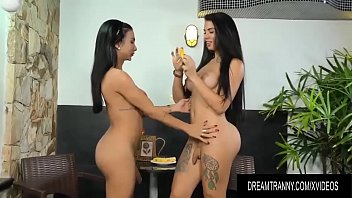 Busty n Hung Trannies Yasmin Dornelles and Estela Duarte Play with Bananas