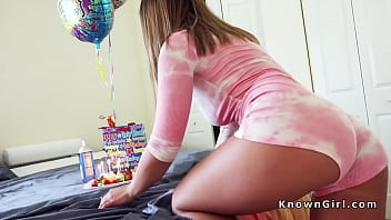 Girlfriend facial surprise - Natural busty teen bangs at bday