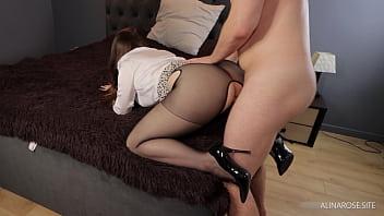 Boss fucks secretary in stockings high heel and cum on her sexy legs