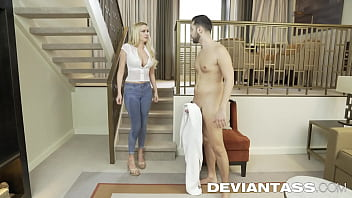 Antonio's whore neighbor looks at Antonio's cock and is ashamed to take off her clothes in front of him