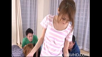 Cute Teen Yuzu Shiina Is Surrounded By Horny Guys So She Gives Them A Show Strip