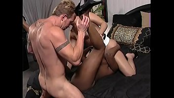 Juggy ebony fuckmeat banging in interracial threesome orgy