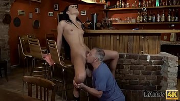 DADDY4K. Daddy invites son and his GF to the bar and fucks cutie