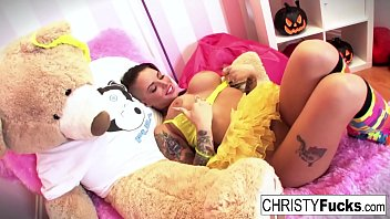 Hot Christy Mack dresses up for Halloween then plays with herself