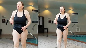 Sexy Grandma is Sexy at 66 in a black swimsuit 8 min