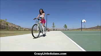 Tiny Young Asian Teen Step Sisters Threesome With White Guy Stranger With Bike