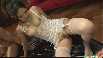 Sexy asians in lingerie Gorgeous babe in sexy lingerie gagging two hard cocks