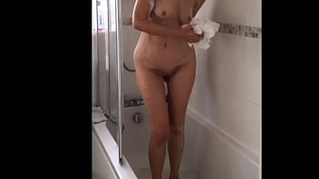 My wife  takes a shower