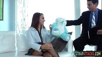 Schoolgirl Dominates Businessman With Strapon