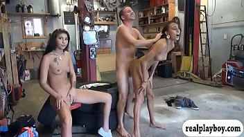 Skinny babe sucks off and gets pounded in car garage 5 min