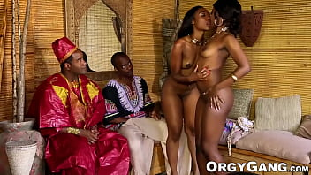 Ebony pornstars receive cum in their mouths during foursome