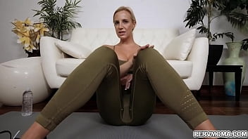 Stepson helps his horny mom with her workout and gets rewarded