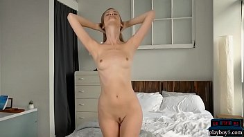 Big round ass MILF model strips naked in the morning