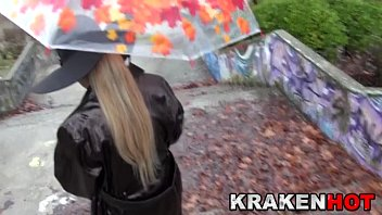 Big Tits Blonde outdoor. Provocative in a rainning day Preview