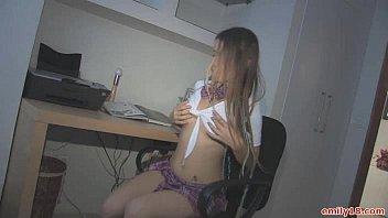 Teen schoolgirl does a striptease