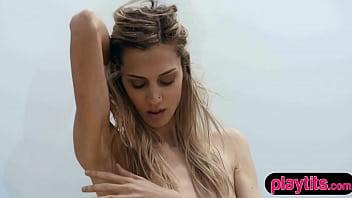 Beautiful blonde skinny US babe Francy Torino sensual striptease session