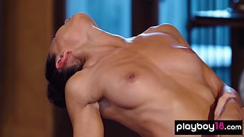 Erotic naked yoga session with big boobed Daniella Smith and her busty GF