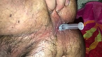 Wife fucks sissy with 18 inch dildo and cum insertion