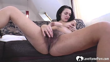 Hairy Brunette Beauty Can't Stop Drilling Her Cunt