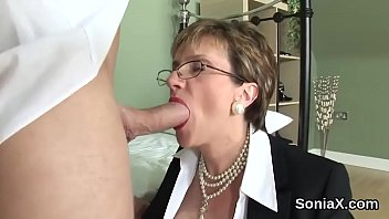 Adulterous english mature lady sonia showcases her gigantic boobies