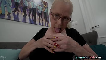Big saggy tit granny riding cock after blowjob in kinky duo