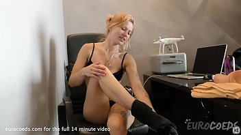 solvita masturbating in my home office with b. huge dildo 10 min