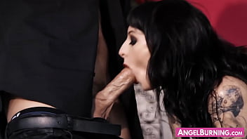 Goth slut drinks all the cum after hardcore fucking action