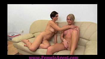 FemaleAgent MILF masturbates with lucky girls on the couch 12 min