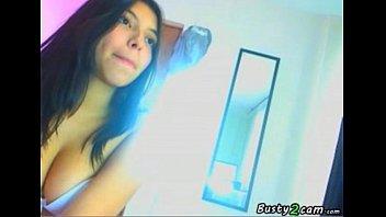Hot latina masturbates in front the webcam