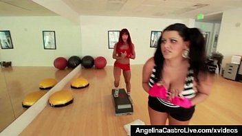 BBW Angelina Castro Gets A Strap On Workout With Teacher! preview image