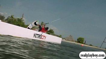 Busty badass women try out wake boarding