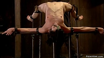 Slave in back arch bondage pussy caned
