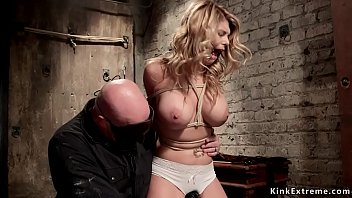 Spider gags used in bdsm Busty sub vibrated over knickers