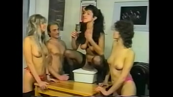 Nasty brunette girl betted with her co-workers that she would be able to make her boyfriend to shoot nuts for the third time this evening