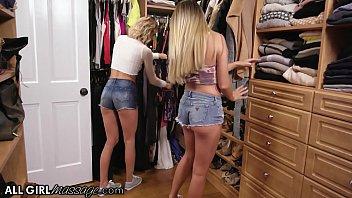 AllGirlMassage Adria Rae And Her Bestie Emma Hix Play With Stepmom's Toys Box 12 min