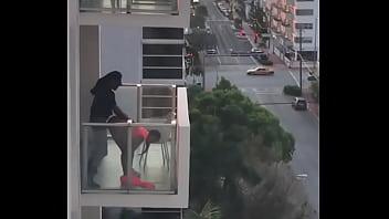 ebony couple sex on the balcony
