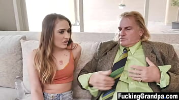 Teen needs help to drain grandpas cock